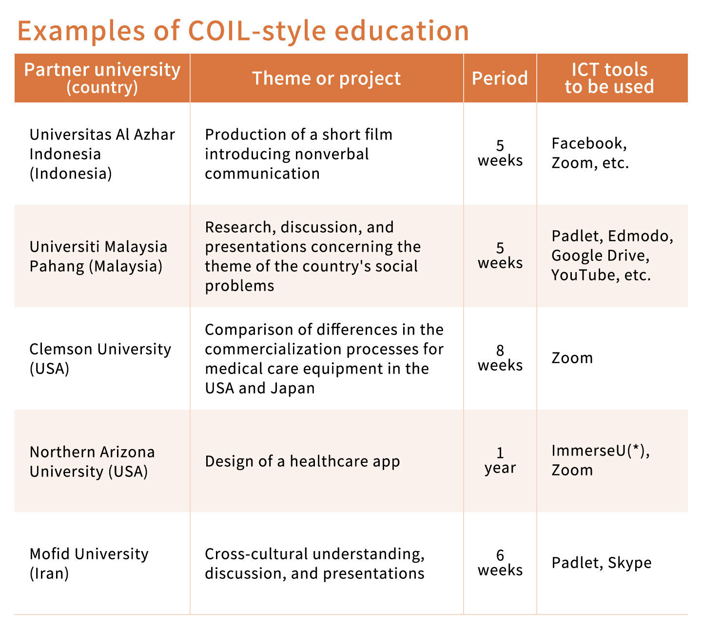 Examples of COIL-style education