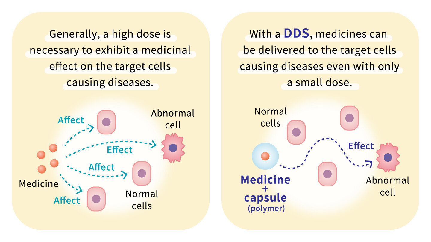 Generally, a high dose is necessary to exhibit a medicinal effect on the target cells causing diseases.With a DDS, medicines can be delivered to the target cells causeing diseases even with only a small dose.